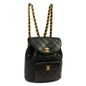 CHANEL Quilted CC Logos Chain Backpack Bag